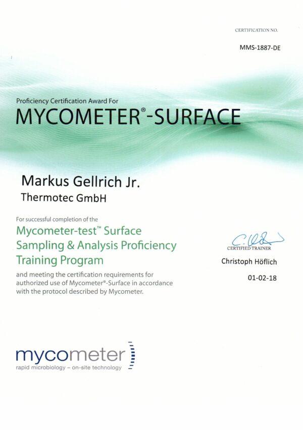 Zertifikat Mycometer Surface