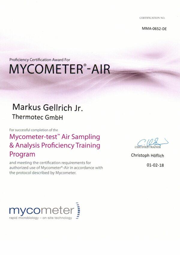Zertifikat Mykometer Air